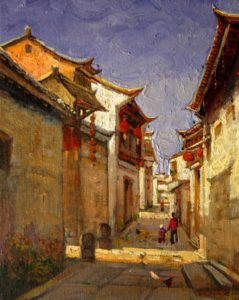 "SOLD ""Walking through Yi Xiang, China,"" by Dongmin Lai 8 x 10 – oil $800 Framed"