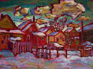 "SOLD ""Warm Neighbourliness in Strathcona No. 1,"" by Ed Loenen 12 x 16 – oil $825 Framed"