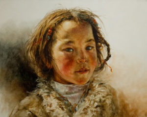 "SOLD ""Warm Winter,"" by Donna Zhang 24 x 30 – oil $5200 Custom framed $5140 with standard frame"