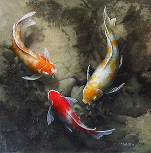 "SOLD ""A Warrior's Fish,"" by Terry Gilecki 24 x 24 – acrylic"