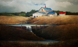 "SOLD ""The Water Catch,"" by Mark Fletcher 24 x 40 – acrylic $2750 Unframed"