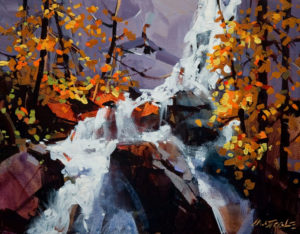 "SOLD ""Waterfall Near Mt. Robson,"" by Michael O'Toole 11 x 14 – acrylic $750 Unframed"