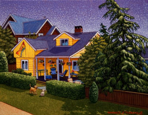 """SOLD """"Waterfront Cottage – Crescent Beach,"""" by Michael Stockdale 11 x 14 – acrylic $550 Unframed"""