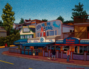 "SOLD ""Waterfront Restaurants, White Rock,"" by Michael Stockdale 11 x 14 – acrylic $530 Unframed"