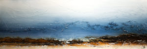 "SOLD ""Waters Whisper,"" by Laura Harris 20 x 60 – acrylic $3970 (thick canvas wrap without frame)"