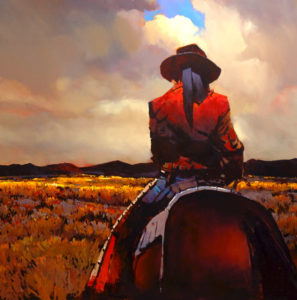 "SOLD ""The Way of the Gaucho,"" by Michael O'Toole 48 x 48 – acrylic $5550 (thick canvas wrap without frame)"