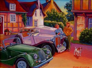 """SOLD """"A Wee Bit of Fine Tuning,"""" by Michael Stockdale 12 x 16 – acrylic $670 Framed"""