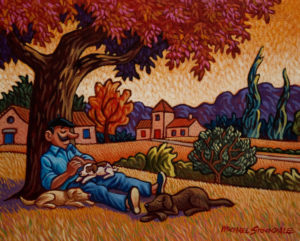 "SOLD ""A Well Deserved Nap,"" by Michael Stockdale 8 x 10 – acrylic $375 Unframed"