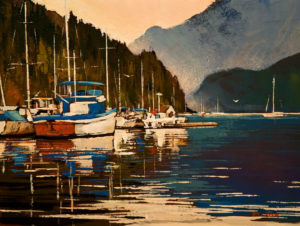 "SOLD ""West Coast,"" by Min Ma 9 x 12 - acrylic $740 Unframed $945 in show frame"