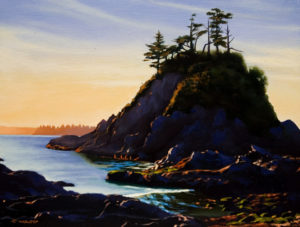 "SOLD ""West Coast Shore,"" by Ray Ward 9 x 12 – oil $650 Unframed"