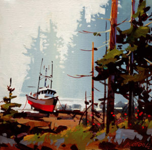 "SOLD ""Wet Day, Rivers Inlet,"" by Michael O'Toole 12 x 12 – acrylic $720 Unframed"