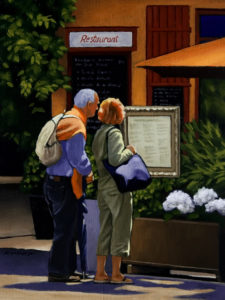 "SOLD ""What's On the Menu?"" by Ray Ward 6 x 8 – oil $460 Unframed"