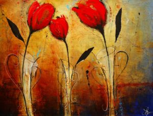 """SOLD """"Where the Heart Is,"""" by Laura Harris 36 x 48 – acrylic $4880 (thick canvas wrap without frame)"""