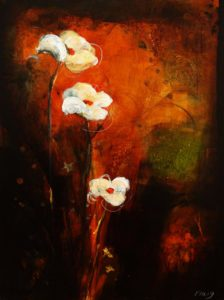 "SOLD ""Where the Wild Things Grow,"" by Susan Flaig 30 x 40 – acrylic with graphite $1675 (thick canvas wrap without frame)"