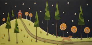 """The Whispering Trees,"" by Peter Wyse 12 x 24 – acrylic $975 (unframed panel  with 1 1/2"" wide edging)"