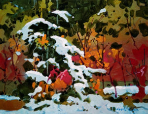 "SOLD ""Whistler Pattern, November,"" by Robert Genn 11 x 14 – acrylic $2200 Unframed"