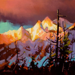 "SOLD ""Whistler Sunrise,"" by Michael O'Toole 12 x 12 – acrylic $720 Unframed"