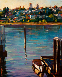 "SOLD ""White Rock,"" by Min Ma 8 x 10 - acrylic $580 Unframed $755 in show frame"