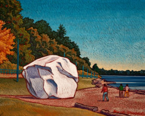 "SOLD ""The White Rock – White Rock Beach,"" by Michael Stockdale 8 x 10 – acrylic $390 Unframed"