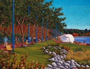 "SOLD ""White Rock Promenade – The White Rock,"" by Michael Stockdale 14 x 18 – acrylic $690 Unframed"