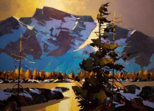 "SOLD ""Wind Change – Howe Sound,"" by Michael O'Toole 36 x 50 – acrylic $6020 Custom Framed"
