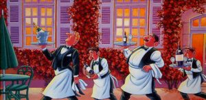 """SOLD """"Wine Service,"""" by Michael Stockdale 12 x 24 – acrylic $850 Framed"""