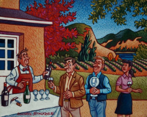 "SOLD ""The Wine Tasting,"" by Michael Stockdale 8 x 10 – acrylic $375 (thick canvas wrap without frame)"