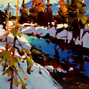 "SOLD ""Winter Creek Near Quesnel,"" by Michael O'Toole 10 x 10 – acrylic $640 Unframed $835 Custom framed"