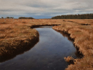 "SOLD ""Winter Grasses, Nanaimo Estuary,"" by Ray Ward 6 x 8 – oil $555 Unframed"