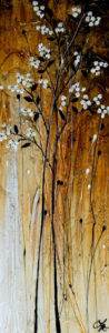 "SOLD ""Winter Kisses,"" by Laura Harris 12 x 36 – acrylic $1760 (thick canvas wrap without frame)"