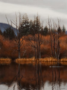 "SOLD ""Winter Marsh – Dead Oaks,"" by Ray Ward 9 x 12 – oil $840 Unframed $1100 Custom framed"