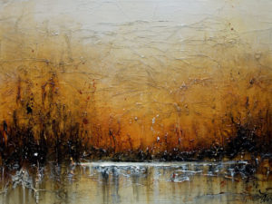 "SOLD ""Winter's Glow,"" by Laura Harris 18 x 24 – acrylic $1390 (thick canvas wrap without frame)"