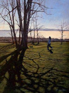 "SOLD ""Winter Shadows,"" by Ray Ward 12 x 16 – oil $895 Framed"