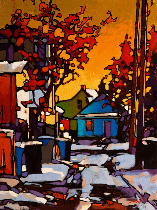 SOLD ``Winter Warmth, Calgary,`` by Mike Svob 12 x 16 - acrylic $1265 Unframed