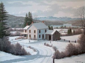 "SOLD ""Winter White,"" by Bill Saunders 18 x 24 – acrylic $3400 Framed"
