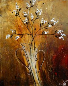 "SOLD ""With a Kiss and Snowberries,"" by Laura Harris 24 x 30 – acrylic $1870 (thick canvas wrap without frame)"