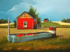 "SOLD ""The Wooden Water Trough,"" by Mark Fletcher 18 x 24 – acrylic $2135 Framed"