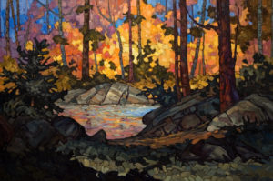 "SOLD ""Woodland Water,"" by Phil Buytendorp 24 x 36 – oil $2480 Framed"