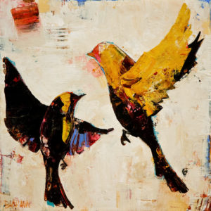 "SOLD ""Yellow Finch,"" by Constance Bachmann 8 x 8 - acrylic $470 as thick linen wrap without frame $570 in show frame"