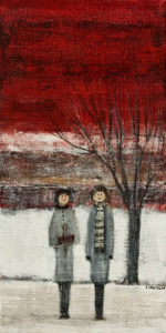 "SOLD ""You and Me,"" by Louise Lauzon 6 x 12 – acrylic $300 Unframed"