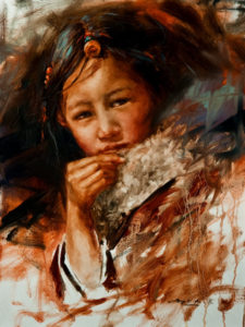 "SOLD ""Young Dreamer,"" by Donna Zhang 18 x 24 – oil $3360 Unframed"