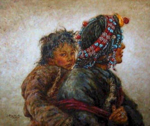 "SOLD ""Always with Mom,"" by Donna Zhang 30 x 36 – oil"