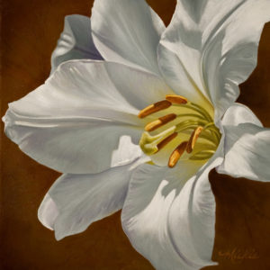 "SOLD ""Allure,"" by Mickie Acierno 12 x 12 - oil $1225 Framed $950 Unframed"