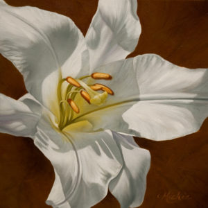 "SOLD ""Angelic,"" by Mickie Acierno 12 x 12 - oil $1225 Framed $950 Unframed"