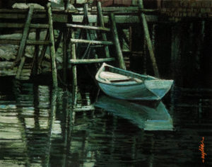 "SOLD ""Another Water Squatter,"" by Alan Wylie 8 x 10 - acrylic $1170 Unframed $1335 with Show frame"
