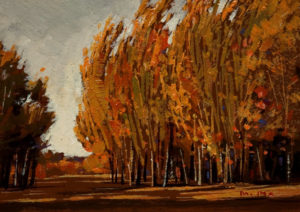 "SOLD ""Autumn Breeze,"" by Min Ma 5 x 7 - acrylic $540 Framed $390 Unframed"
