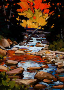 "SOLD ""Autumn Cascade,"" by Min Ma 5 x 7 - acrylic $310 Unframed $450 with Show frame"
