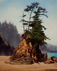 "SOLD ""Bamfield Mist,"" by Ray Ward 8 x 10 - oil $560 Unframed $720 with Show frame"