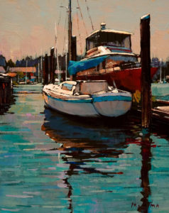 "SOLD ""Boat and Reflection,"" by Min Ma 8 x 10 - acrylic $745 in show frame $735 in standard drame"