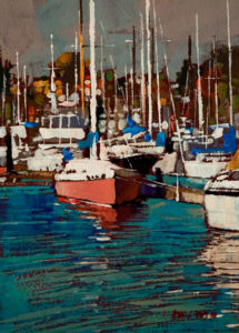 "SOLD ""Boats,"" by Min Ma 5 x 7 - acrylic $540 Framed $390 Unframed"